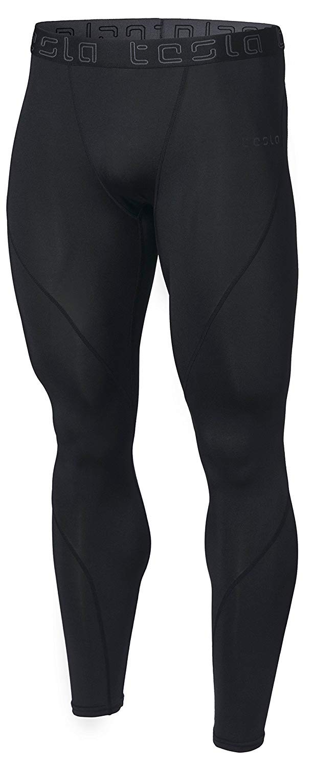 TSLA Men's Compression Pants Running Baselayer Cool Dry, Black, Size Medium. by TSLA