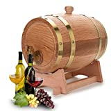 Oak Aging Whiskey Barrel, 3 Liter Vintage Wood Oak Timber Wine Barrel Dispenser for Whiskey Bourbon Tequila