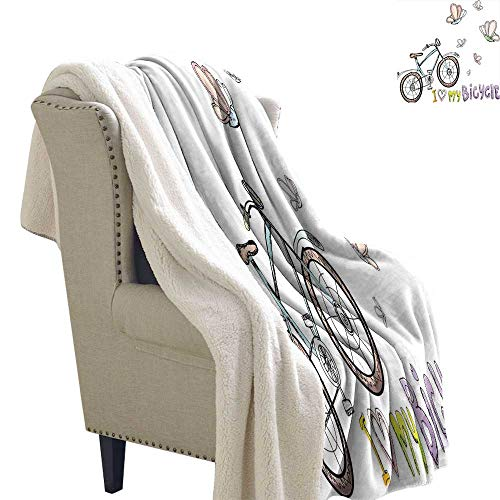 Benmo House Berber Fleece Blanket Bicycle,Doodle Style Cycling Leisure Theme with A Little Kids Fashionable Cute Bike Butterflies,Multi All Season Blanket 60x47 Inch