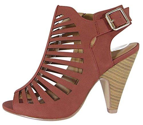 Cambridge Select Mujeres Open Toe Caged Cutout Hebilla De Tobillo Strap Chunky Tapered High Heel Botín Dark Rust Nbpu