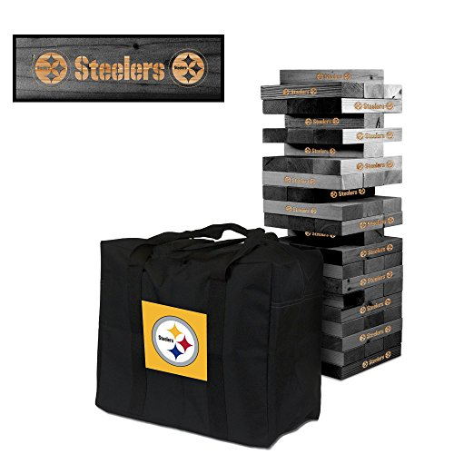 NFL Pittsburgh Steelers NFL 858034Pittsburgh Steelers NFL Onyx Stained Giant Wooden Tumble Tower Game, Multicolor, One Size by Victory Tailgate