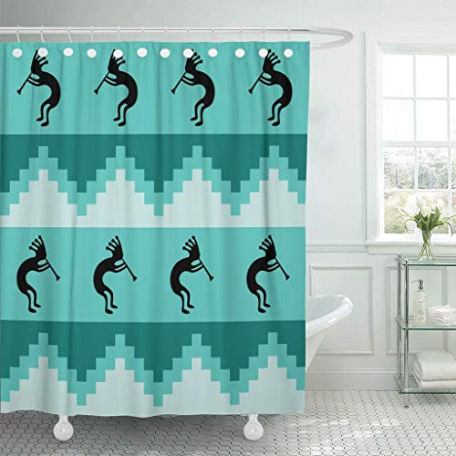 Emvency Fabric Shower Curtain Hooks Blue Southwest Southwestern Design in Cool Turquoise Colors Teal Aboriginal Aqua Bright 60''X72'' Decorative Bathroom Treated to Resist Deterioration Mildew by Emvency