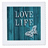 3D Rose Teal Wood Effect Design with Words Love Life and Butterfly Quilt Square 12 by 12 Inch, 12 x 12''