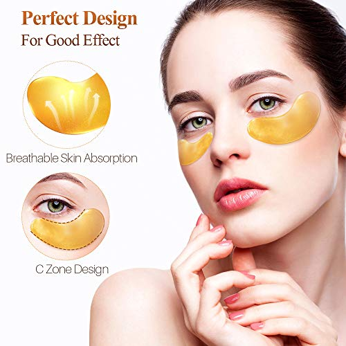 51gOAU7MipL - 24K Golden Collagen Eye Pads - Gel Eye Mask for Eyes Treatment Puffiness Anti Aging Removing Bags Deep Hydration Relieve Dark Circles Under Eye Gel Mask for Women and Men (20 Pairs)