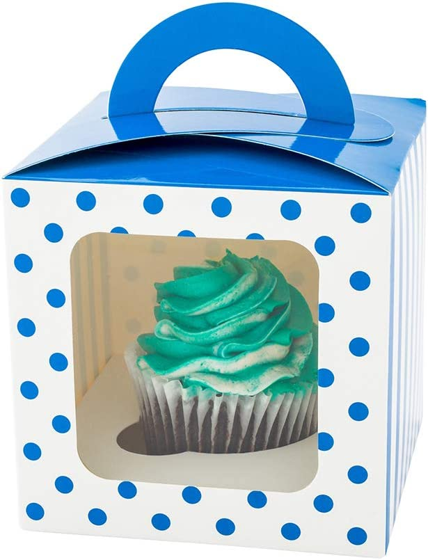 Square Blue Cupcake Window Box