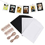 WINOMO 20pcs Kraft Paper Photo Frames Hanging Wall Decoration DIY with Clips and Jute Ropes for 4x6in Pictures
