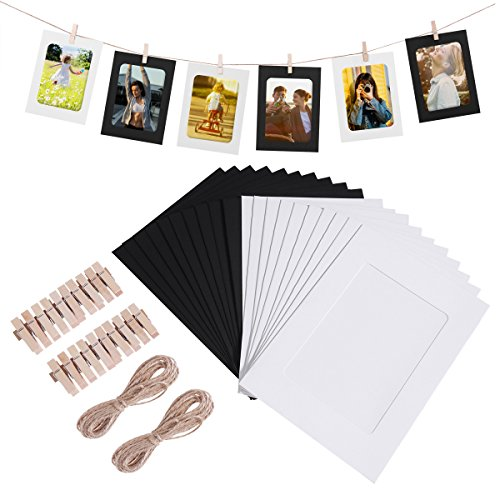 WINOMO 20pcs Kraft Paper Photo Frames Hanging Wall Decoration DIY with Clips and Jute Ropes for 4x6in Pictures by WINOMO