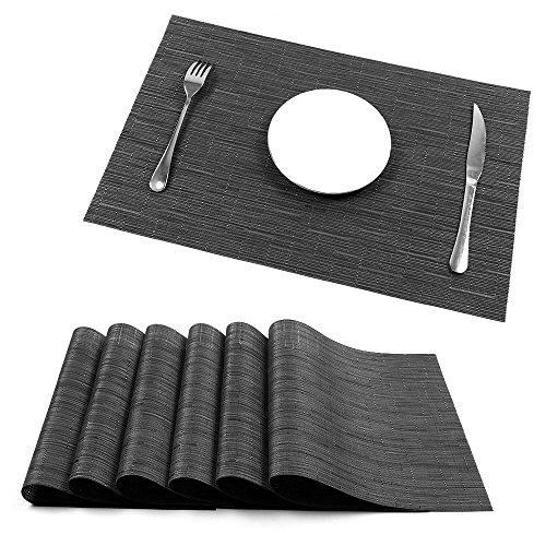 Placemats, U'Artlines Heat-resistant Placemats Stain Resistant Anti-skid Washable PVC Table Mats Woven Vinyl Placemats, Set of 6 (6pcs placemats, B black) (Black Bamboo Placemat)