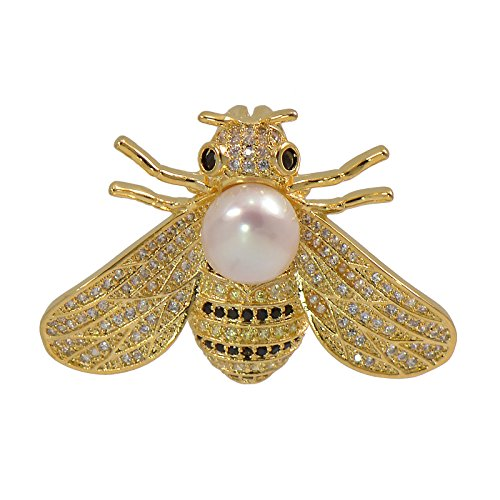 Paialco 8-9MM Cultured Freshwater Pearl Cubic Zirconia Delicate Bee Brooch Pin, Yellow Gold (Cultured Pearl Yellow Brooch)