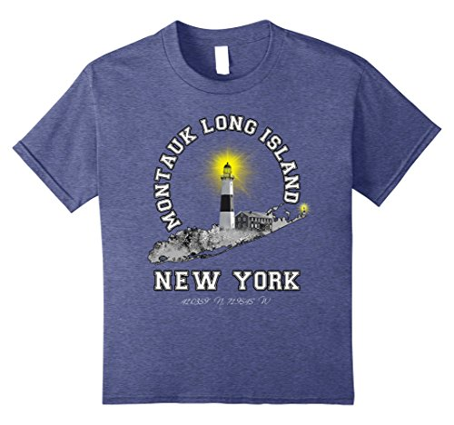 Kids Montauk Long Island NY Tee Shirt 12 Heather Blue (Long Ny Island Beach)