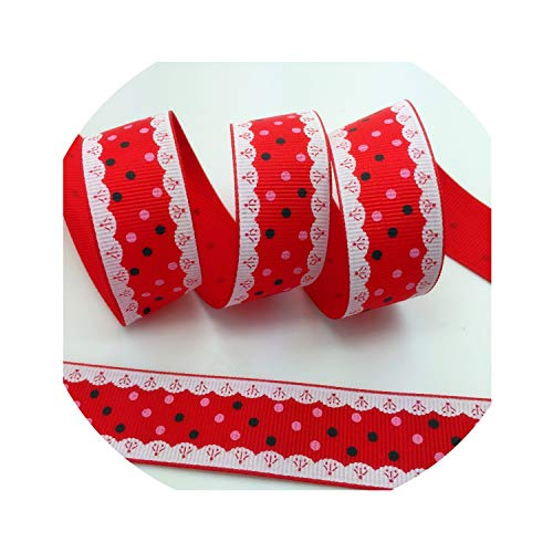 (5 Yards 1Inch 25Mm Wide Dots Printed Grosgrain Ribbon Hair Bow/Christmas/Wedding Sewing Craft,Red)