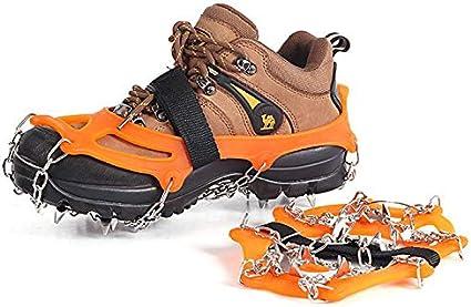 Grapas de Hielo Crampones tracci/ón sobre Nieve apretones de Zapatos de los Cargadores de Acero Inoxidable 19 Espigas de Senderismo Pesca Escalada Caminar Correr Monta/ñismo