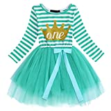 IWEMEK Baby Girls Toddler Kids Princess Long Sleeve Dress 1st/2nd/3rd Birthday Cake Smash Shiny Printed Striped Tulle Tutu Dress Party Outfit (#91 Turquoise(1 Years))