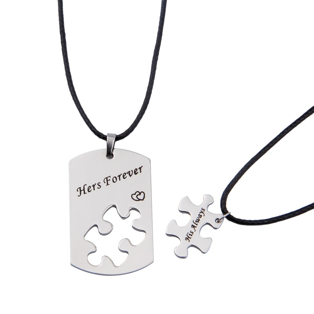 2e68eb62d5 Amazon.com: ENSIANTH Hers Forever His Always Puzzle Piece Necklace Set for Couple  Best Friend (hers always necklace): Jewelry
