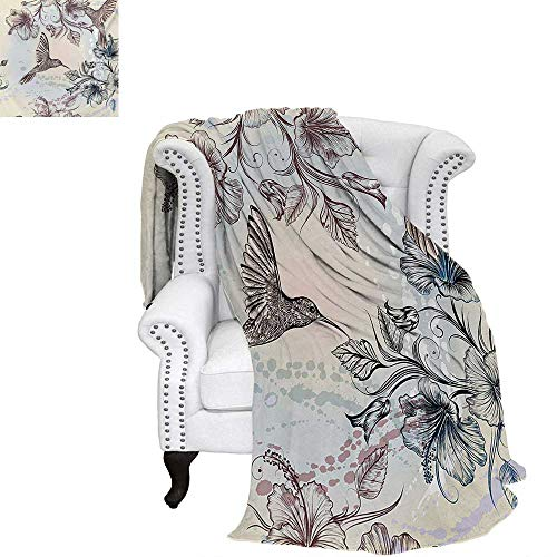 warmfamily Hummingbird Warm Microfiber All Season Blanket for Bed or Couch Birds and Hibiscus Flowers Nostalgia Antique Artistic Design Classical Print Throw Blanket 60