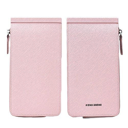 Gosear Unisex Portable Lange PU Leder Brieftasche Geld Ändern Kreditkarte Karten Reißverschluss Speicher Tasche Inhaber Veranstalter Geldbeutel Schwarz Hell Pink
