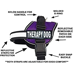 "Therapy Dog Harness Service Working Vest Jacket Removable Patches,Purchase Comes with 2 Therapy Dog Reflective pathces. Please Measure Dog Before Ordering. (Girth 28-38"", Purple)"