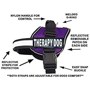 Therapy Dog Harness Service Working Vest Jacket Removable Patches,Purchase Comes with 2 Therapy Dog Reflective pathces… Click on image for further info.