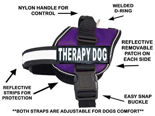 Therapy Dog Harness Service Working Vest Jacket Removable Patches,Purchase Comes with 2 Therapy Dog Reflective pathces. Please Measure Dog Before Ordering. (Girth 19-25