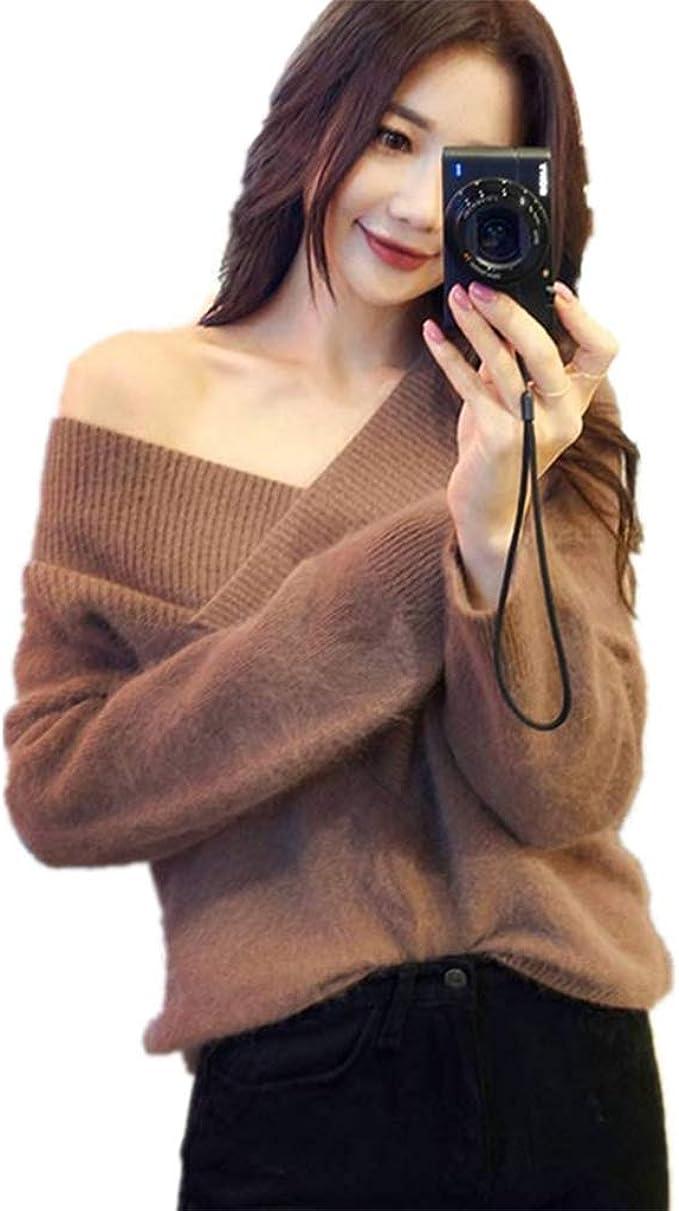 Amycute Suéter Marrón para Mujer, Suéter con Cuello en V Jersey ...