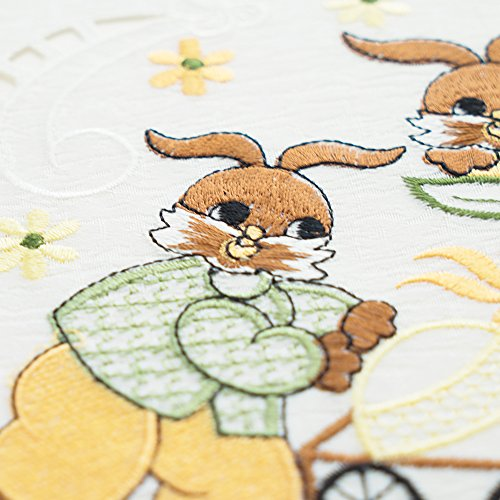 Just-Enjoy Lace Easter Festival Decoration White Cutwork Cute Embroidered Bunny Tablecloth Table Runner Placemats Embroidered Lace Trim Patchwork (1, 16x36'') (Runner Lace 36')