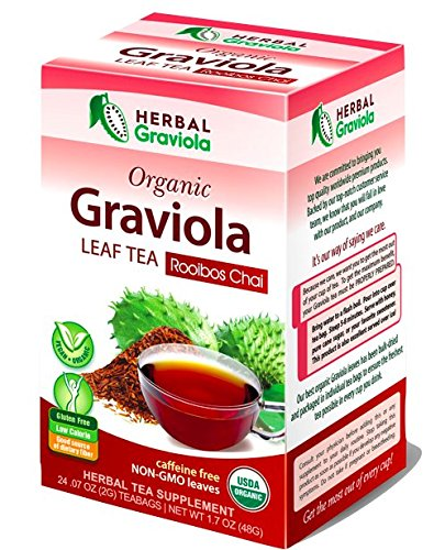 Graviola Leaf Tea - Rooibos Chai - Stress & Anxiety Relief - Caffeine Free - 100% USDA Organic - Non-GMO Project Verified - Gluten-Free - Kosher - 24 Teabags - Made in USA by Herbal Goodness