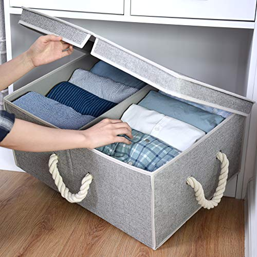 StorageWorks 65L Closet Storage Organizer with Strong Cotton Rope Handle, Storage Boxes with Lid, Double-Open Lid, Gray, Cotton Fabric Box, Jumbo