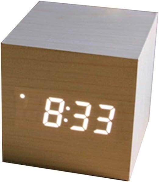 WAVENI Reloj Cuadrado de Madera LED Reloj de Mesa electrónico ...