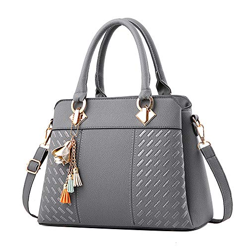 Clearance Sale! ZOMUSAR Fashion Women Leather Splice Handbag Shoulder Bag Crossbody Messenger Bag Tote Bag (Gray) -
