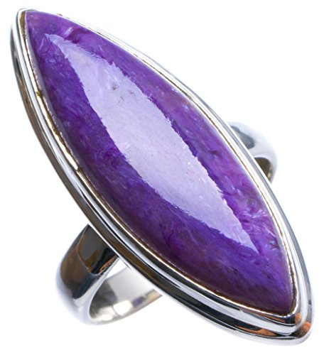 StarGems(tm) Natural Charoite Handmade Unique 925 Sterling Silver Ring, US size 6 X2519 (Italian Stone Tm Ladies)