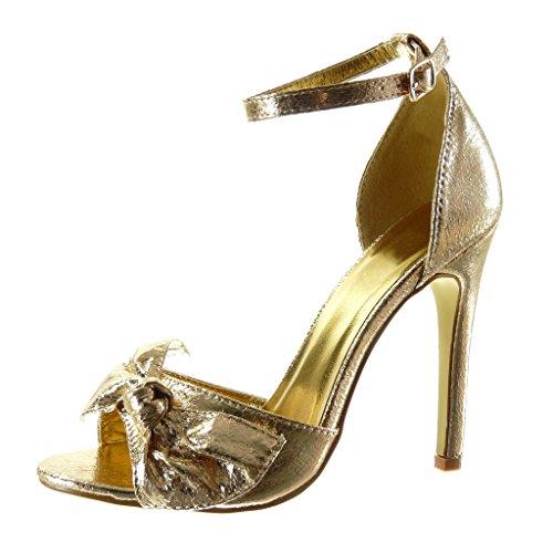 Angkorly - Chaussure Mode Sandale Escarpin sexy stiletto femme noeud papillon brillant lanière Talon haut aiguille 11 CM - Or