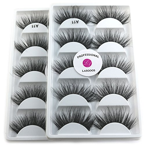 2Box/Lot 3D Real Mink False Eyelashes LASGOOS 100% Siberian Mink Fur Luxurious Fluffy Messy Cross Long 10 Pairs Fake Eye Lashes A11