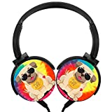 POJIA Pug Life Wired Headphone Stereo Subwoofer Headset On-Ear Earphone Earpiece with Mic