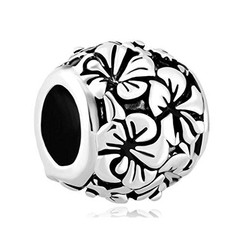 LovelyJewelry Vintage Open Hawaii Sinensis Flower Charm Beads Charm Bracelets