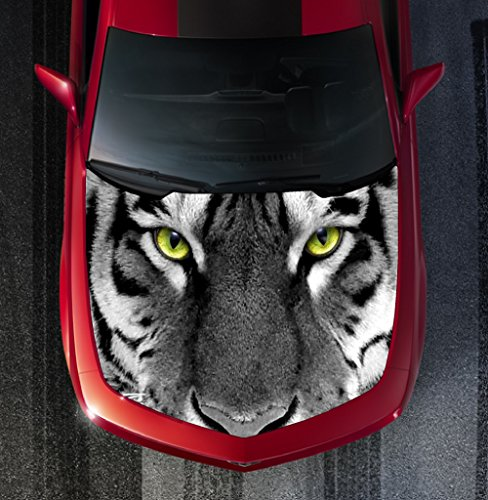 Avery H93 WHITE TIGER EYES - HOOD WRAP - Wraps Decal Sticker Tint Vinyl Image Graphic Carbon Print Laminated Printed Fiber