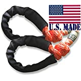 """U.S. made Safe-T-Line XD Soft Shackles in """"SAFETY ORANGE"""" (PAIR) (4X4 VEHICLE RECOVERY)"""