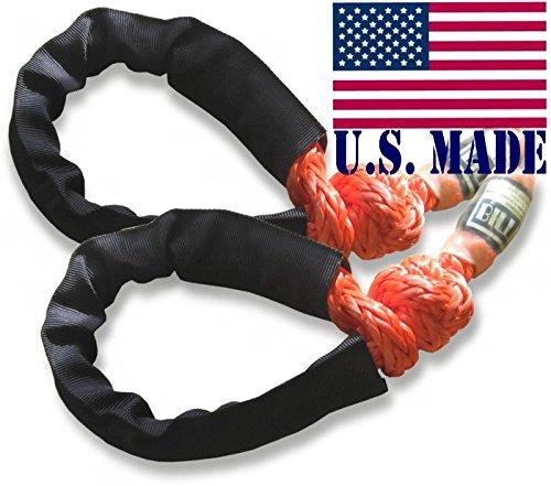 BILLET4X4 U.S. Made Safe-T-Line XD Soft Shackles in Safety Orange (Pair) (4X4 Vehicle - Safety Shackle