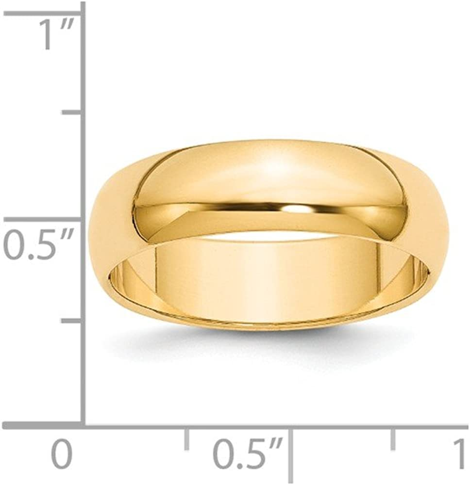 14k Yellow Gold Half-Round Wedding Band Fine Jewelry Ideal Gifts For Women