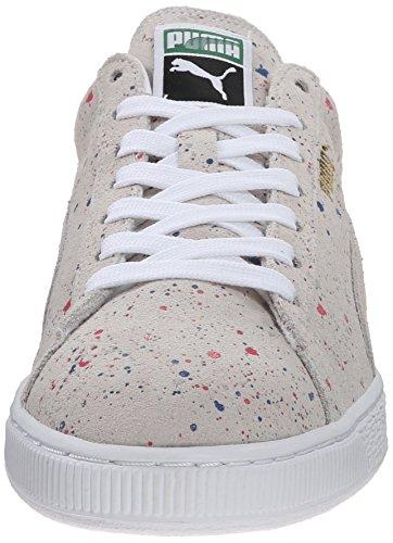 Puma Uomo Scamosciato Classico Allover Splatter Fashion Sneaker Bianco / Bianco