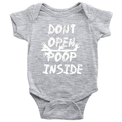 Don't Open Poop Inside Onesie Funny Zombie Apocalypse Baby Bodysuit (12M, Heather (Zombie Baby Clothes)