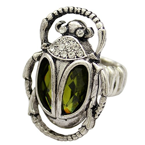 - Silver Plated Q&Q Fashion Vintage Egyptian Cleopatra khepri Scarab Beetle Green Rhinestone Stretch Finger Ring