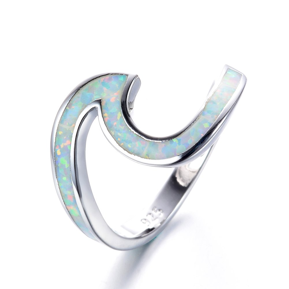 Chic 925 sterling Silver Wave Cut Girl Ring,Designed For Women To Design Home Casual Wear (Silver White Opal-Size 9)