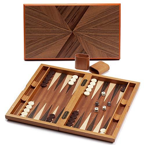 Premium Large Wooden Folding Backgammon Board Game Set