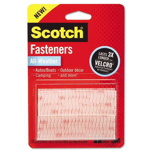 Scotch(R) All-Weather Fasteners, 2 Sets of 1 Inch x 3 Inches, Strips, Clear (RFD7090) ()