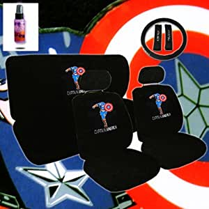 12 piece auto interior gift set 2 captain america design front universal size low. Black Bedroom Furniture Sets. Home Design Ideas
