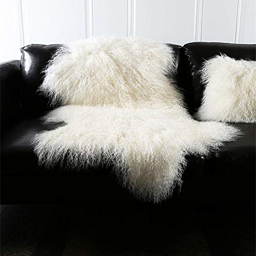 Sheepskin Wool Rug Throw - Genuine Tibetan Mongolian Sheepskin Fur Rug Hide Pelt Throw Rug Lamb Wool Carpet Curly Fur Used for Area Rug or Across Armchair,Ivory White