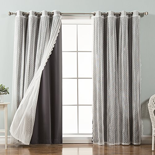 Best Home Fashion Mix & Match Dotted Tulle Lace & Solid Blackout Curtain Set – Antique Bronze Grommet Top – Dark Grey – 52