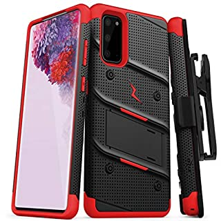 ZIZO Bolt for Galaxy S20 Case with Kickstand Holster Lanyard - Black & Red