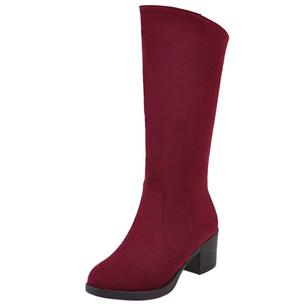 RAZAMAZA Talon Chaussures Femmes Mi-Mollet Mi-Mollet Bottes Talon Moyen Pointure B01FWFN5OU Red 2529185 - boatplans.space
