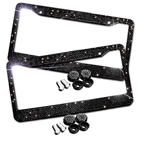 JUSHACHENGTA Bling Bling License Plate Frames -2 Pack-8 Row Pure Handmade Waterproof Glitter Rhinestones Crystal License Frames Plate for Cars with 2 Holes with Screws Caps Set